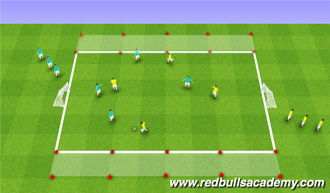 Football/Soccer Session Plan Drill (Colour): Small Sided Game (4v4 Transition)