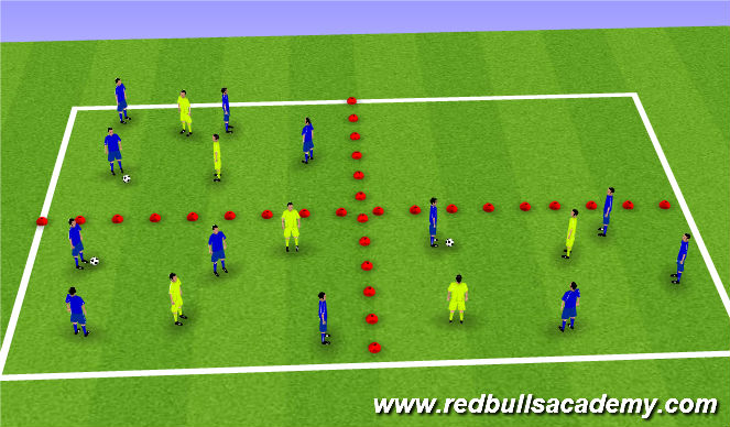 Football/Soccer Session Plan Drill (Colour): Exercise 1: Keep ball