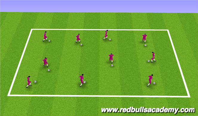 Football/Soccer Session Plan Drill (Colour): Free Dribble