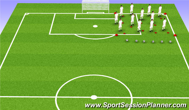 Football/Soccer Session Plan Drill (Colour): Continuous movement