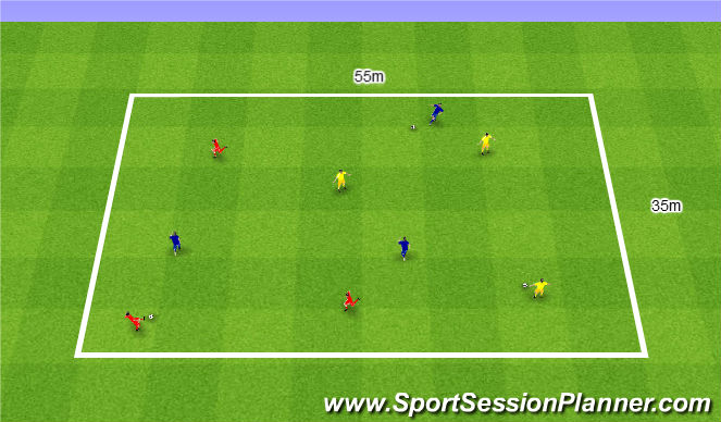 Football/Soccer Session Plan Drill (Colour): Free passing and receiving. Dowolne podania i przyjęcia.