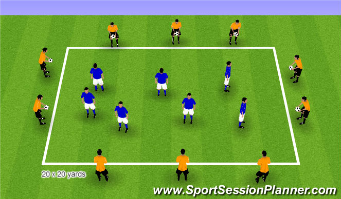 Football/Soccer Session Plan Drill (Colour): Step 1 Ball Warm Up