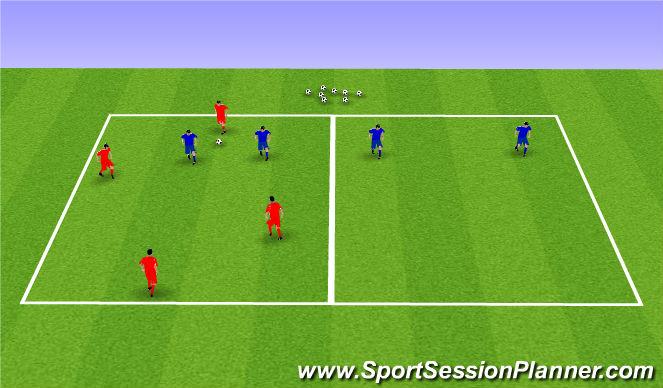 Football/Soccer Session Plan Drill (Colour): 4v2 +2