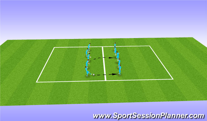 Football/Soccer Session Plan Drill (Colour): Warm Up with Ball between 2