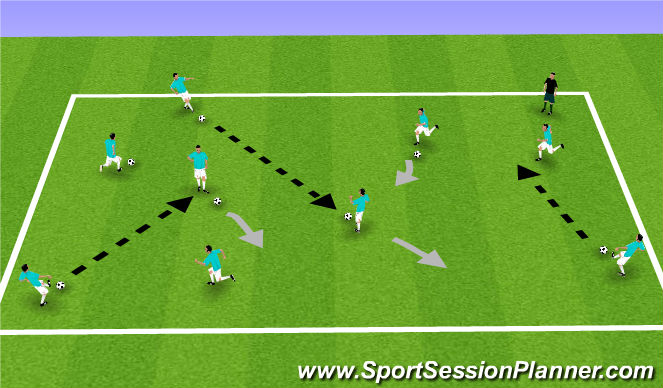 Football/Soccer Session Plan Drill (Colour): Passing and Moving Warm-Up