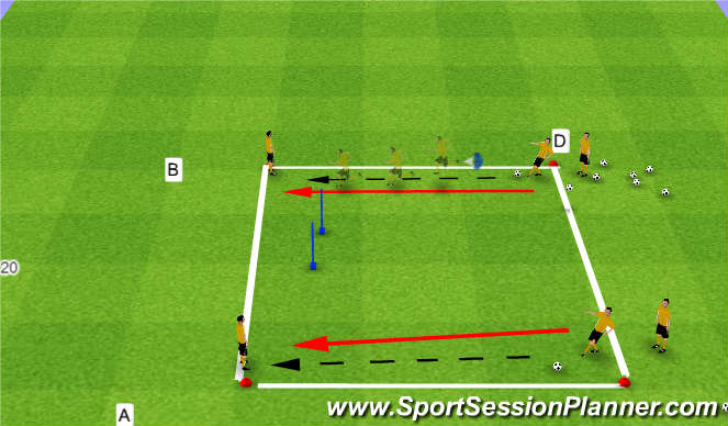 Football/Soccer Session Plan Drill (Colour): pass and move 1