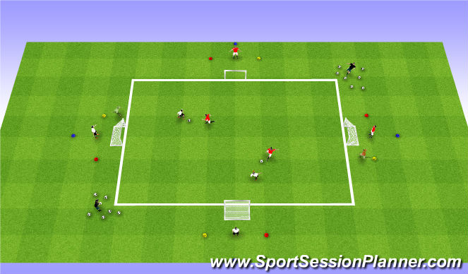 Football/Soccer Session Plan Drill (Colour): Reaction 1v1/2v2 Game