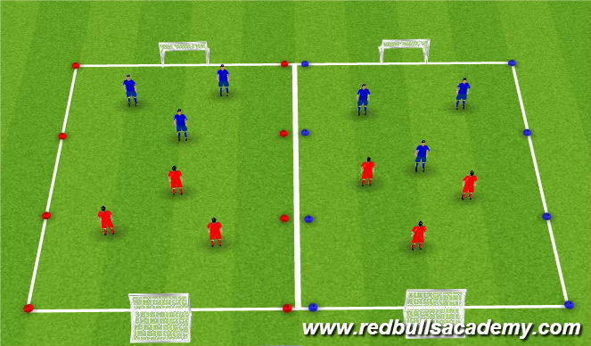 Football/Soccer Session Plan Drill (Colour): 3v3 play
