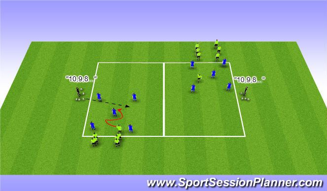 "Football/Soccer Session Plan Drill (Colour): Technical Warm-up ""Quick Possession/Immediate Chase"""