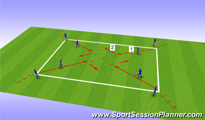 Football/Soccer Session Plan Drill (Colour): Coerver Warm Up