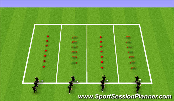 Football/Soccer Session Plan Drill (Colour): Station 1 - Relay Races