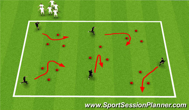 Football/Soccer Session Plan Drill (Colour): Station 4 - Dribbling/Turns