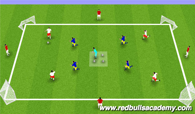 Football/Soccer Session Plan Drill (Colour): 4v4 +4