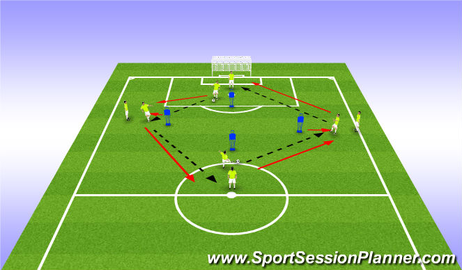 Football/Soccer Session Plan Drill (Colour): Warm Up - Diamond Passing