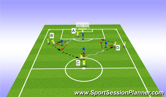 Football/Soccer Session Plan Drill (Colour): Diamond Passing - Give and Go