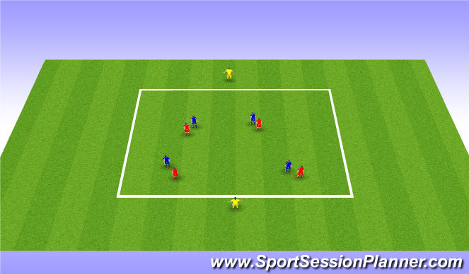 Football/Soccer Session Plan Drill (Colour): 4v4 pressing and covering
