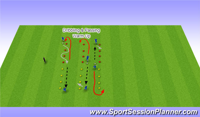 Football/Soccer Session Plan Drill (Colour): Dribbling & Passing on the Move