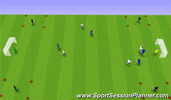 Football/Soccer Session Plan Drill (Colour): Spil með 4 sendingamönnum.