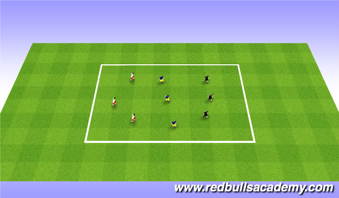Football/Soccer Session Plan Drill (Colour): 3v3v3 poss