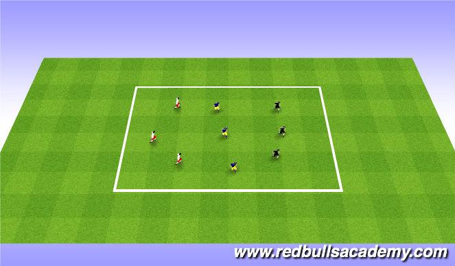 Football/Soccer Session Plan Drill (Colour): 3v3v3 poss