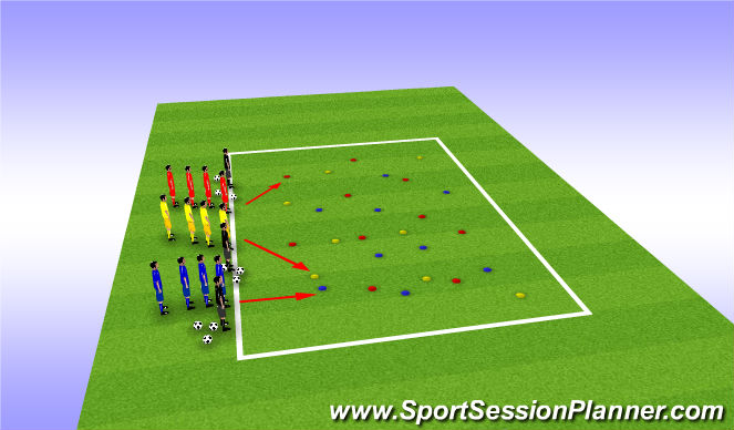 Football/Soccer Session Plan Drill (Colour): Clean UP the Yard Teams