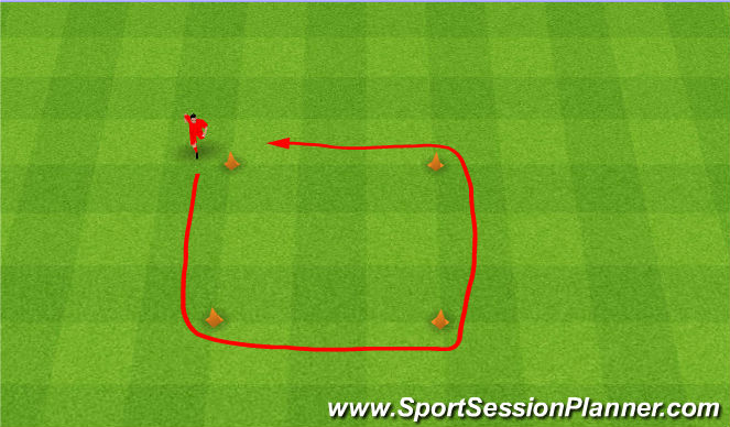 Football/Soccer Session Plan Drill (Colour): Square run. Bieg po kwadracie.