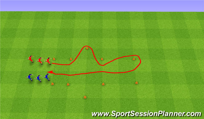 Football/Soccer Session Plan Drill (Colour): Relay Race. Wyścigi w rzędach.