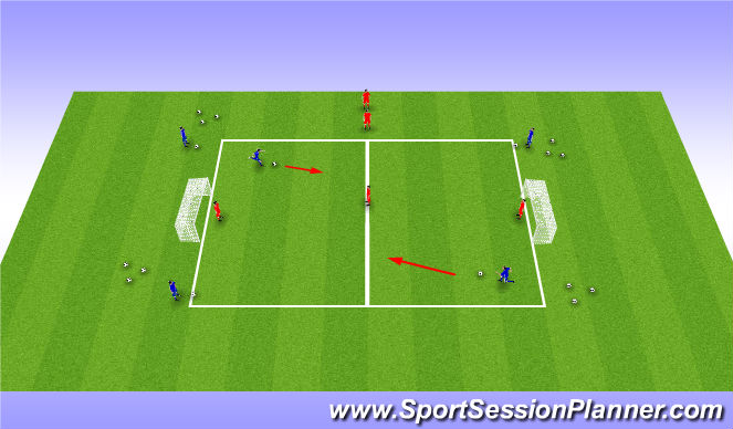 Football/Soccer Session Plan Drill (Colour): Skill opposed