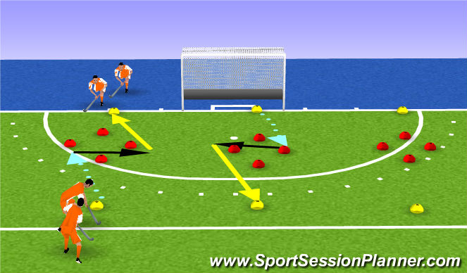Hockey Session Plan Drill (Colour): drag dribble