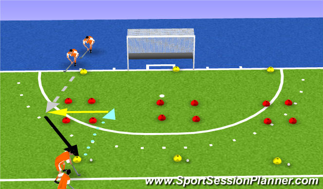 Hockey Session Plan Drill (Colour): side pass