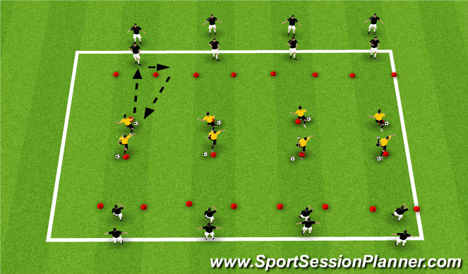 Football/Soccer Session Plan Drill (Colour): Receiving: First Touch