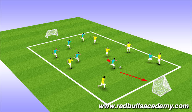 Football/Soccer Session Plan Drill (Colour): 1v1 Cond. Game