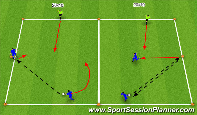 Football/Soccer Session Plan Drill (Colour): SI Attacking 2v1s