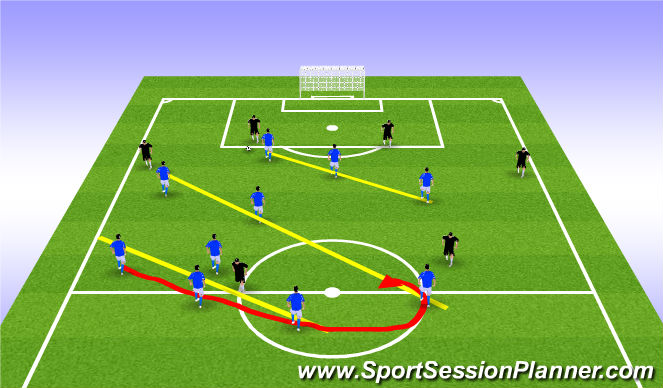 Football/Soccer Session Plan Drill (Colour): Fish Hook