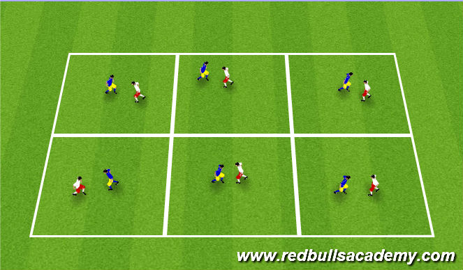 Football/Soccer Session Plan Drill (Colour): Warm Up - Knee Fencing