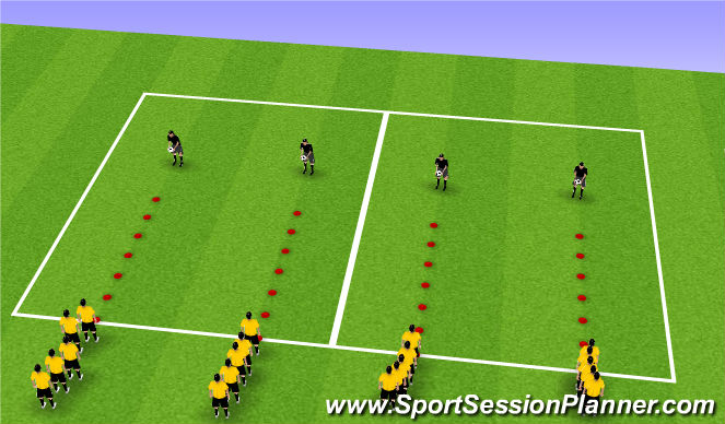 Football/Soccer Session Plan Drill (Colour): Agility w/ touches