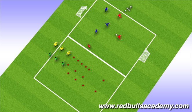 Football/Soccer Session Plan Drill (Colour): 3 v. 3 Game- teams off= Agility