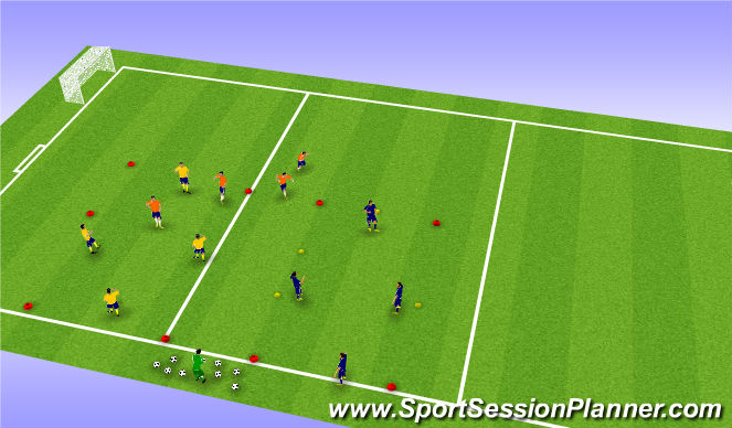 Football/Soccer Session Plan Drill (Colour): 4v2 Play Over
