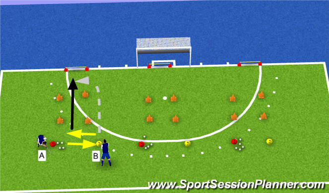 Hockey Session Plan Drill (Colour): scoren 1v1 interceptie