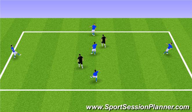 Football/Soccer Session Plan Drill (Colour): 5v2 Olders