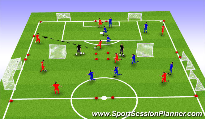 Football/Soccer Session Plan Drill (Colour): 4 V 4 session