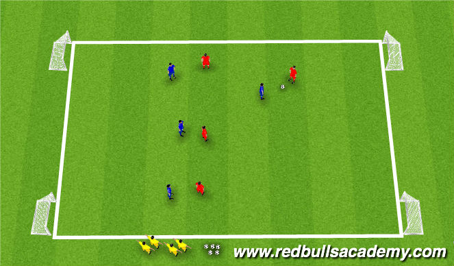 Football/Soccer Session Plan Drill (Colour): Conditioned Game: Defending 1 v. 1