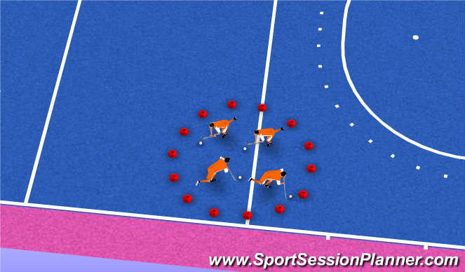 Hockey Session Plan Drill (Colour): King of the Circle