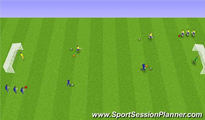 Football/Soccer Session Plan Drill (Colour): Knattrak og skot.