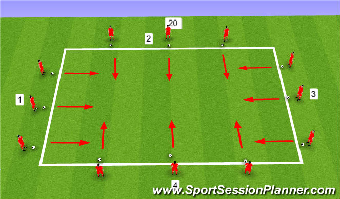 Football/Soccer Session Plan Drill (Colour): Interlaced dribbling warmup