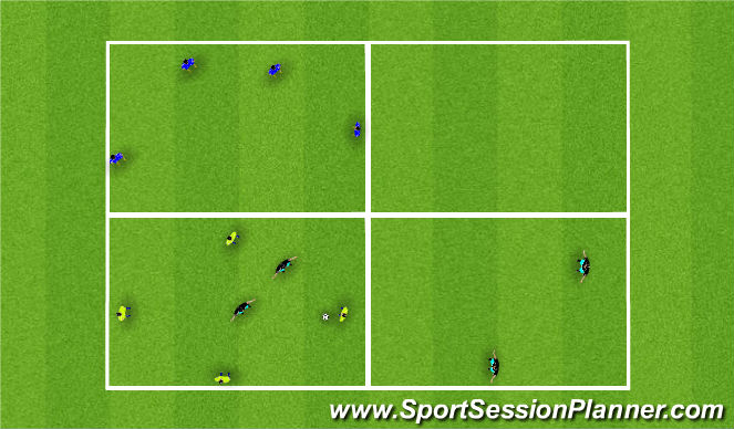 Football/Soccer Session Plan Drill (Colour): 4(+4)V2+2 Possession & Switching