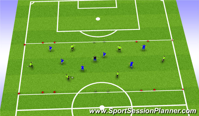 Football/Soccer Session Plan Drill (Colour): SII 3 Goals Switch Game