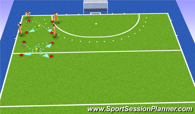 Hockey Session Plan Drill (Colour): drijven in een bocht