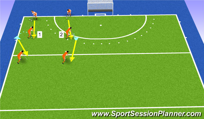 Hockey Session Plan Drill (Colour): open/gesloten aannemen