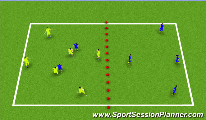 Football/Soccer Session Plan Drill (Colour): Possession Game Double Fields
